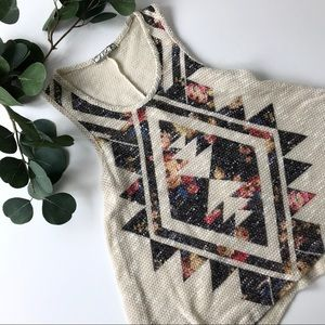 Aztec Tank top tribal Chloe K Women's medium